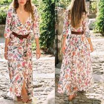 Fashion V Collar Floral Printed Beach Maxi Dress
