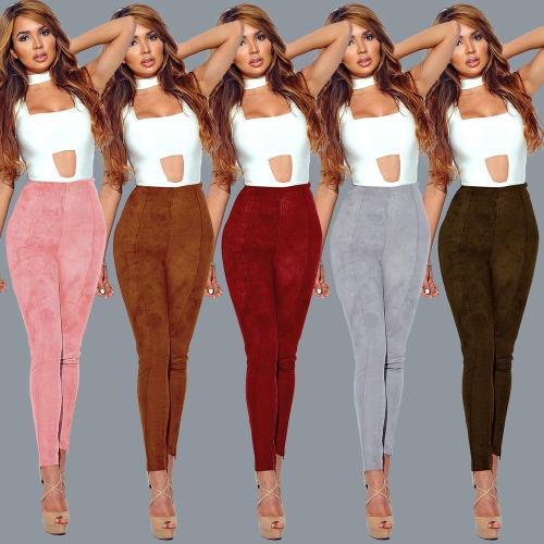 Candy Color Suede Slim Long Skinny Pants Leggings