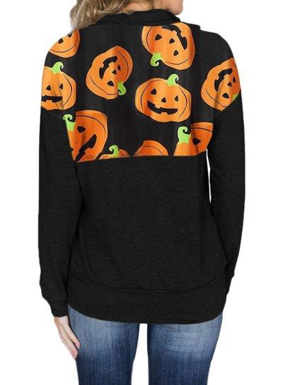 Halloween Print Funny Zipper Hoodie