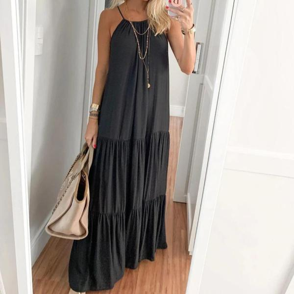 Casual Black Pleated Splice Loose Halter Dress
