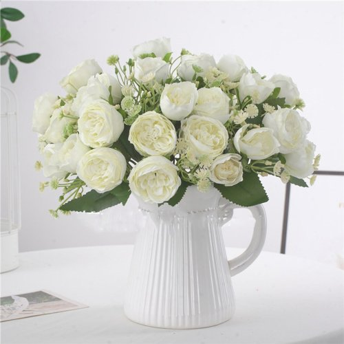 5 Forks 10 Heads Peony Artificial Flowers Bouquet Silk Fake Flower Wedding Home Decoration Peony Rose Flower