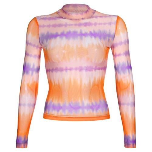 Casual Colorful Mesh Transparent Turtleneck T-shirt Women 2019 Summer Streetwear Full Sleeve Transparent Tee Tops