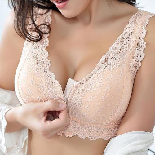 Front Cotton Lining Gather Wireless Soft Lace Comfort Embroidery Bras