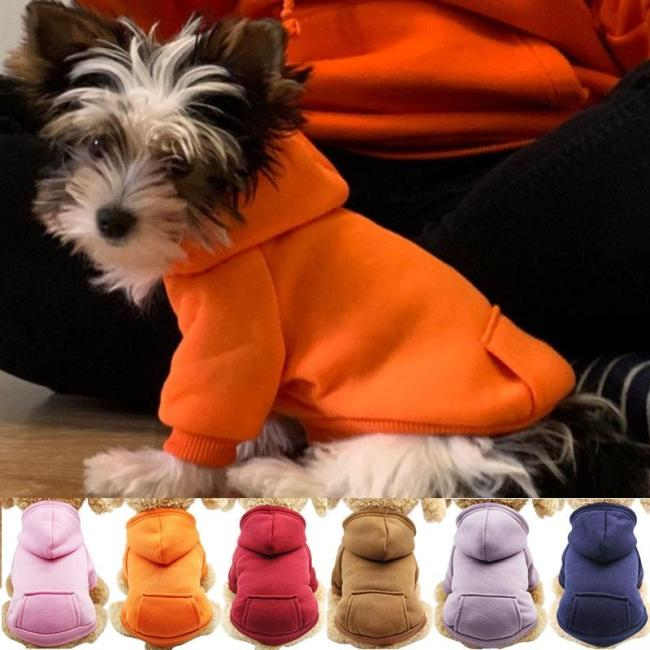 Solid Dog Hoodies Pet Clothes for Small Dogs Puppy Coat Jackets Sweatshirt for Chihuahua Doggie Cat Costume Cotton Pet Outfits