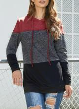 Drawstring Color Block Hoodie