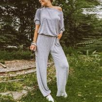 Casual Sloping Shoulder Pure Colour Jumpsuits