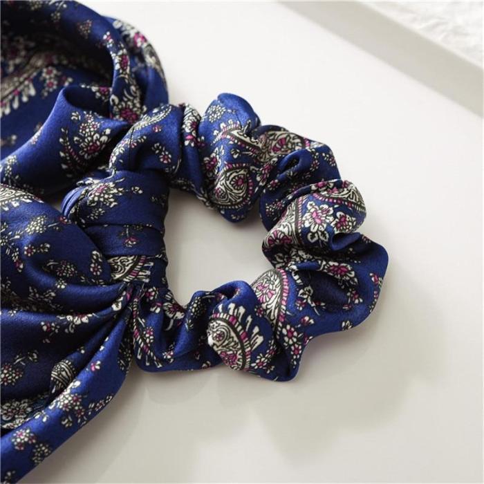 EBUYTIDE Women Vintage Headwear Turban DIY Hair Scrunchies Ribbon Hair Ties Horsetail Ties Elastic Hair Bow Scarf Jewelry