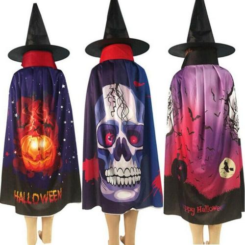 New Halloween Pumpkin Skull Ghost Pattern Cloak Hat Cosplay Party Costume Robe Cape Ponchos Unisex