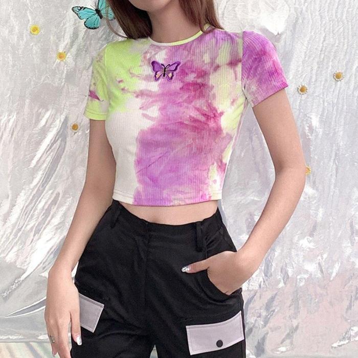 Round Neck Short Sleeve Crop Top y2k T-shirt