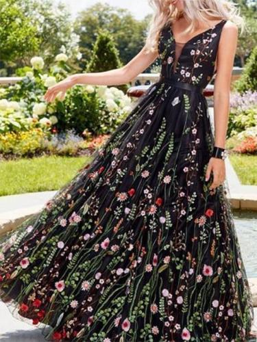 Spaghetti Strap  Floral Evening Dresses