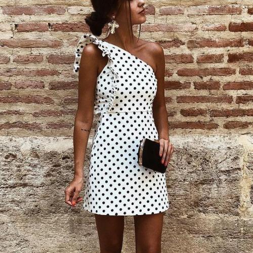 Fashion One Shoulder Dot Flouncing Shift Mini Dress Bodycon Dress