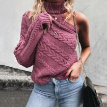 Strapless Single-Sleeve Twisted Turtleneck Sweater