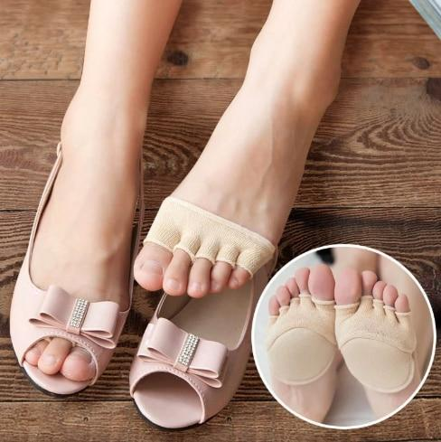 1Pair Cotton Half Insoles Pads Foot Care Insoles Forefoot Pain Relief Massaging Gel Metatarsal Toe Support Pads Insoles Forefoot