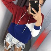Fashion Plain Long Sleeve Hoodies Sweatshirts