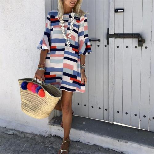 Fashion Round Neck Printed Loose Dress