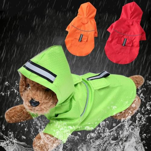 Waterproof small Dog Raincoat Puppy Dog Clothes Outdoor Pet Coat Hooded Rain Jacket Reflective Medium dog poncho Breathable mesh