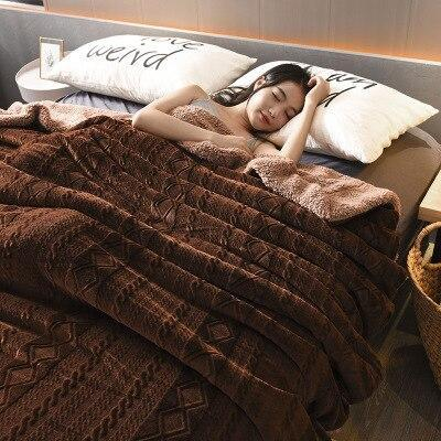 Thick Soft Warm Coral Sherpa Blanket Throw Soft Fluffy Manta Sofa Fleece Blankets For Beds Coverlet Travel Plaids Bedspread koc