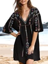 Black Floral V-neck Mini Cover-up
