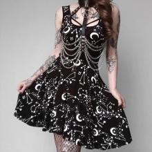 Sexy Sleeveless Black Gothic Dress Summer Bodycon Casual Thin Lady Dresses Moom Star Print Darkness Dress Gothic Punk Wind Dress