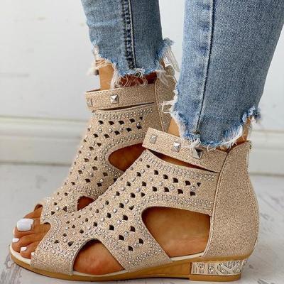 Casual Flat Rivet Detail Zipper Sandals