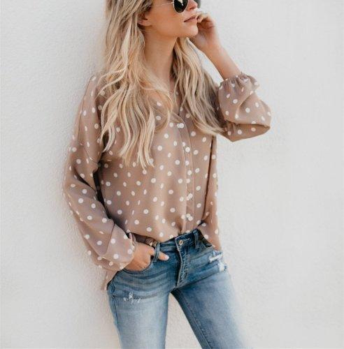 V Collar Spot Print Long-Sleeved Shirt