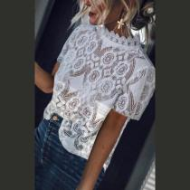 Band Collar  Decorative Lace Blouses