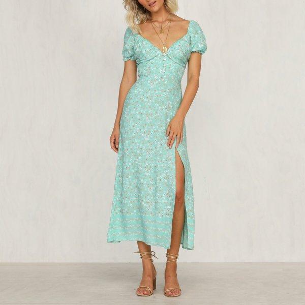 Sexy Off-shoulder Floral Pattern slit dress