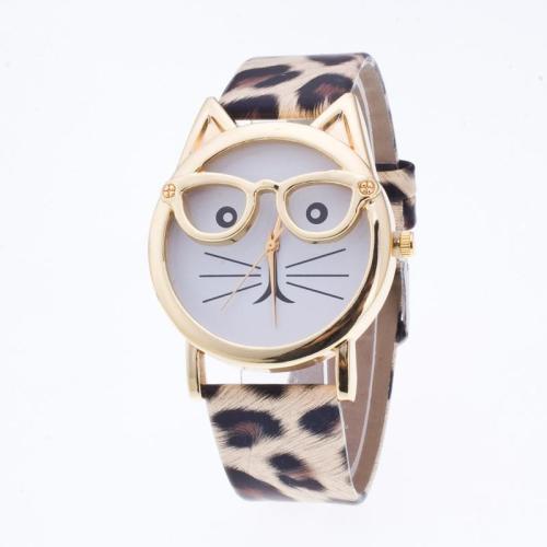 Cute Cartoon Glasses Cat Watch