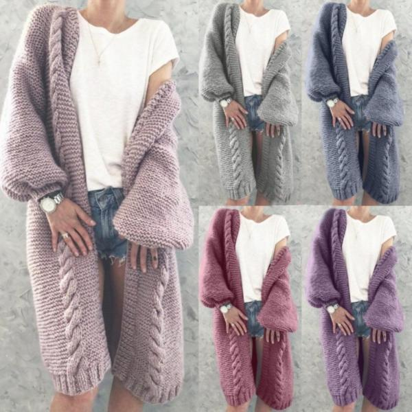 Woman Cardigan Knitted Woolen Sweater Winter Long Puff Sleeve Knitted Sweater Cardigan Solid Color Long Cardigan Woman Coat Top
