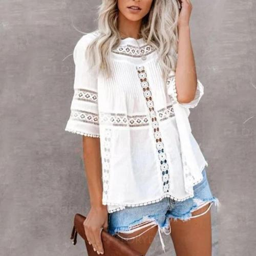 Women's Pure Color Hollow Out Short Sleeve Shirt