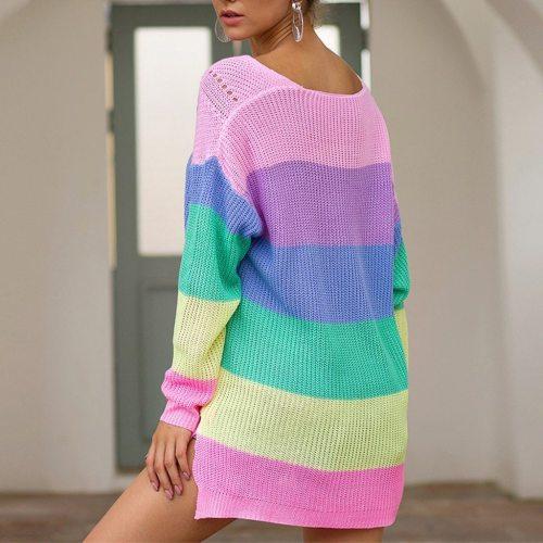 Women Tops Blouses women Plus Size Womens Long Sleeve Rainbow Stripe Casual Blouse Knit Shirts Top 2020 Streetwear