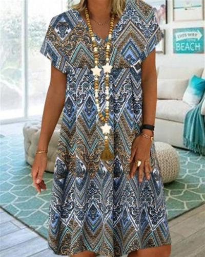 Women V-Neck Vintage Printed Short Sleeve Summer Mini Dress