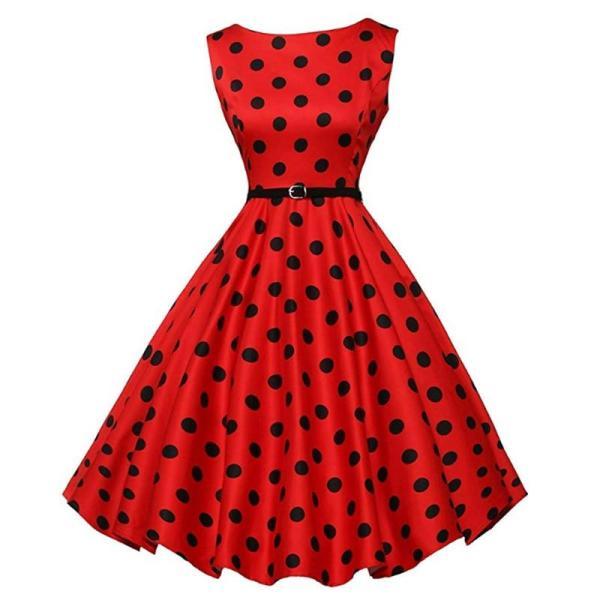 1950s Red Retro Polka Dot Sleeveless Dress Women Plus Size 70s Vintage Swing Gala Belted Rockabilly Festival Dresses Petticoat