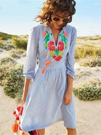 Pinstripe Bandage Embroidered Half Sleeves Cover-Ups
