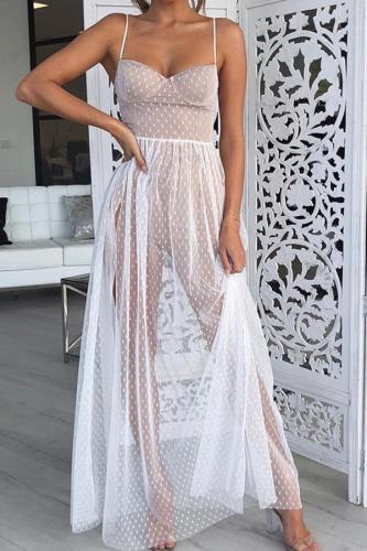 Fashion Sling Polka Dot Slit Gauze Maxi Dresses