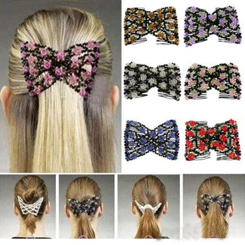 Elegant Women Hair Accessories Exquisite Crystal Rhinestone Barrette Hair Clip Rose Bow Hair Head Double Comb Hair Clip