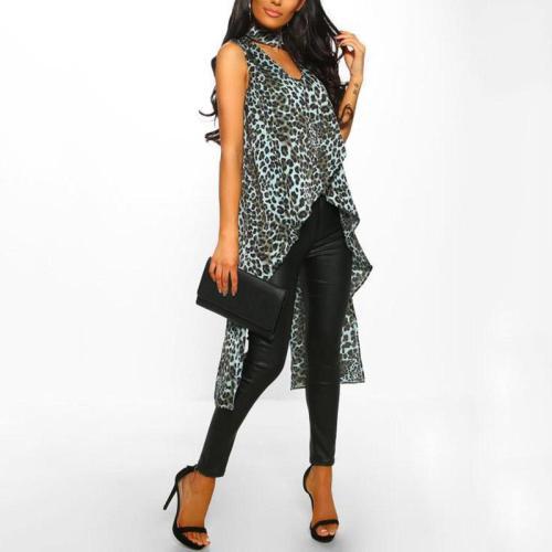 Casual Loose Leopard Print Slit Sleeveless Dress
