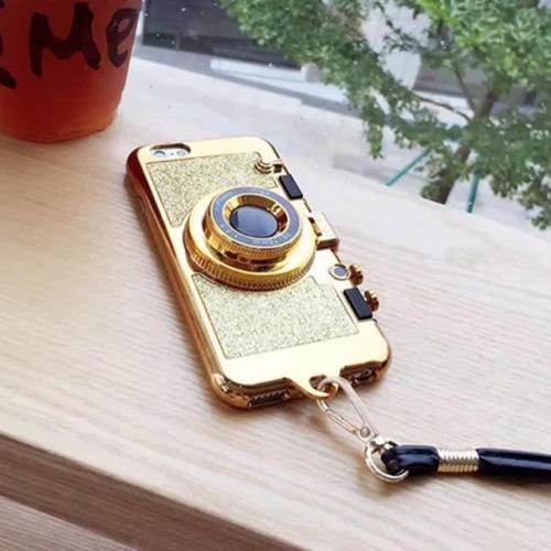 Sparkling Glitter Camera Phone Case with Mirror Kickstand & Strap