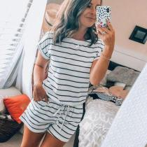 EBUYTIDE Striped Short Sleeve Drawstring Waist Jumpsuit