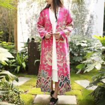 Chinese Dragon Cotton Linen Long Cardigan