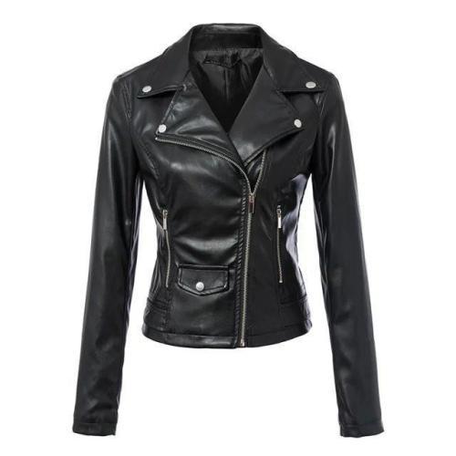 Women Black Zipper Rivet Crop Moto Jacket