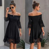 Sexy Off Shoulder Women Summer Dress Stitching Lace Female Short Sundress Summer Ladies Elastic Mini Dress