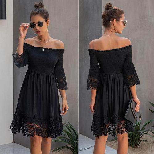 Sexy Off Shoulder Women Summer Dress Stitching Lace Female Short Sundress Summer Ladies Elastic Mini Dress
