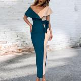 Sexy Deep V Stitching Fashion Dress