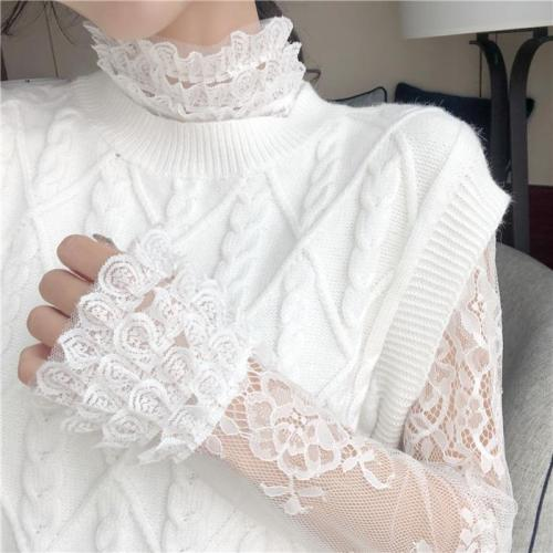 Fashion Sexy Lace   Stitching Knitting Perspective T-Shirt Blouse