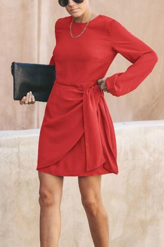 Fashion Round Neck Belted Pure Colour Mini Dresses