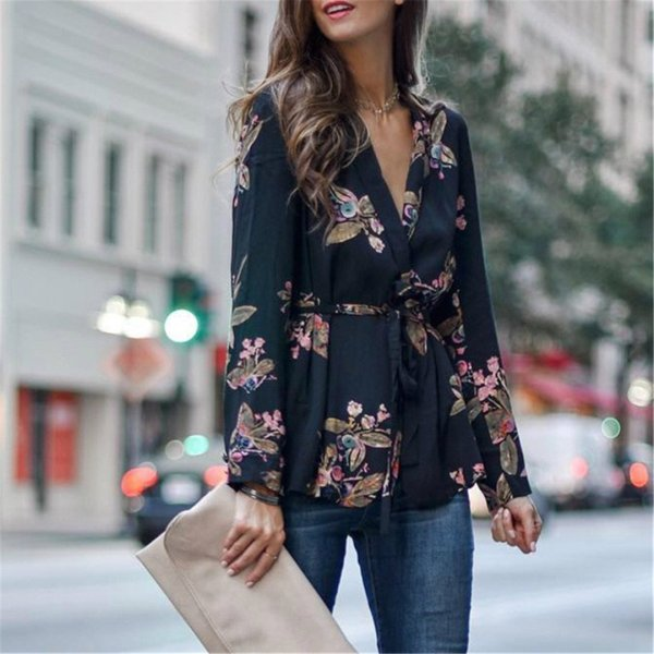 Sexy deep v-neck bouquet waist shirt