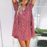 V Neck  Single Breasted  Print  Short Sleeve Casual Mini Dresses