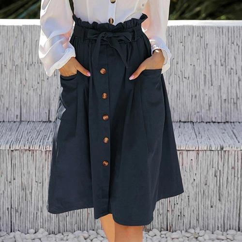 Women Spring Summer Retro Fashion Seven Cents Skirt Vacation Casual High-waist Lace-up Single-breasted Skirt With Large Pockets
