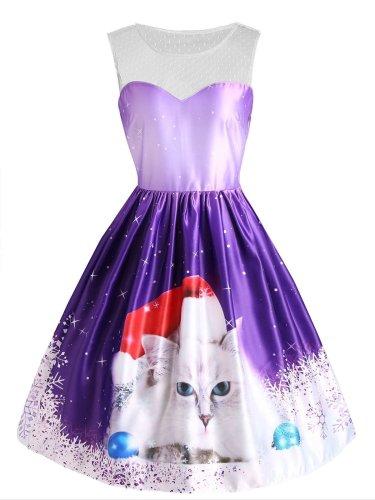 Purple 1950s Christmas Cat Snow Dress